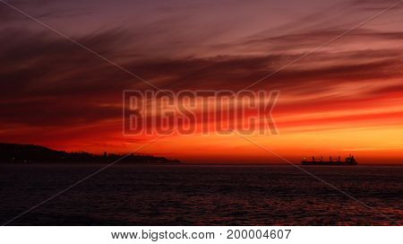 Sunset in Vina del Mar Chile Valparaiso on the left and a stunning sky all around