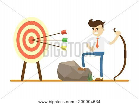 Businessman with bow near archery target icon. Business project and realization vector illustration in flat design.
