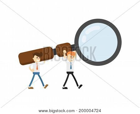 Businessmen with big magnifying glass isolated icon. Business project and realization vector illustration in flat design.