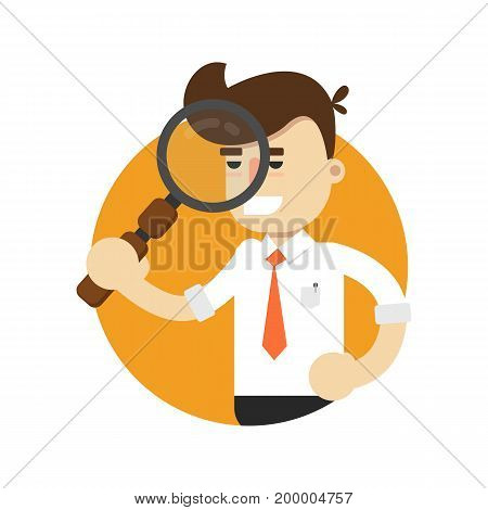Businessman with magnifier isolated icon. Business project and realization vector illustration in flat design.
