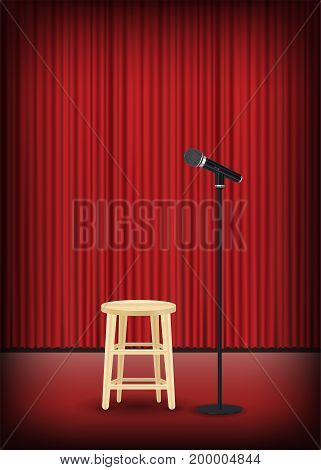 microphone with round chair on stage show