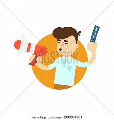 Seller man with megaphone icon. Shopping in supermarket, retail vector illustration in flat design.