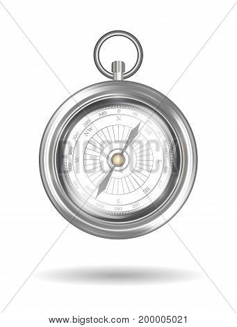 real steel compass on a white background