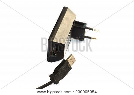 Plug And Connection Adapter Line On White Background