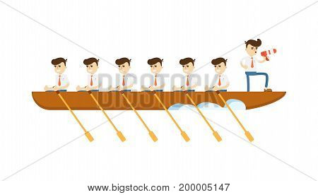 Teamwork concept with businessmen in boat icon. Business project and realization vector illustration in flat design. poster