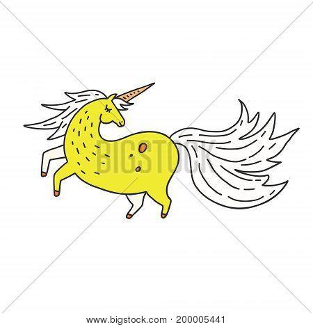 Cartoon illustration of unicorn. Cute doodle art of magic creature.