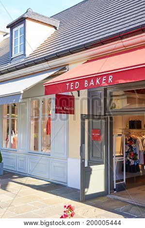 PARIS FRANCE - MAY 10 2017 : Ted Baker boutique in La Vallee Village. Ted Baker plc is a British luxury clothing retail company.
