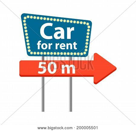 Rent car road sign icon isolated on white background vector illustration. City renting car service in flat design.