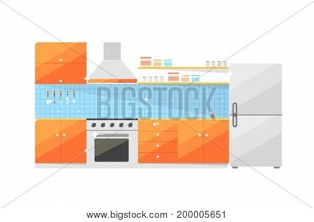 Kitchen furniture isolated vector icon. Stove, table, refrigerator, sink, extractor hood vector illustration in flat design.
