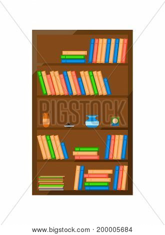 Wooden books cabinet icon. Home furniture vector illustration in flat design.