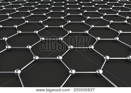 Graphene Atomic Structure On Black Background