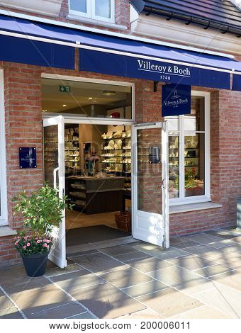 PARIS FRANCE - MAY 10 2017 : Villeroy Boch boutique in La Vallee Village. Villeroy Boch is a large manufacturer of ceramics with the company headquarters located in Mettlach Germany
