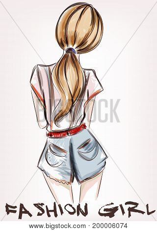 Fashion illustration with beautiful girl standing back