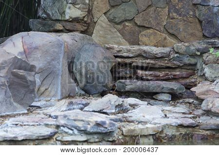 Close up of a dried up rocky waterfall