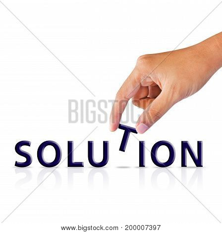 hand and word solution puzzle on white background