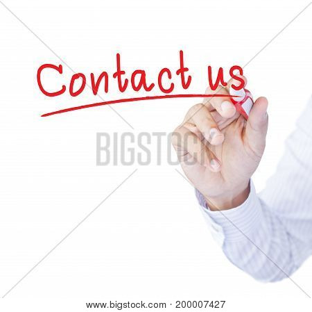 businessman hand write word contact us on white background