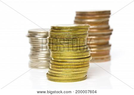 coins stacks on white background, increasing business