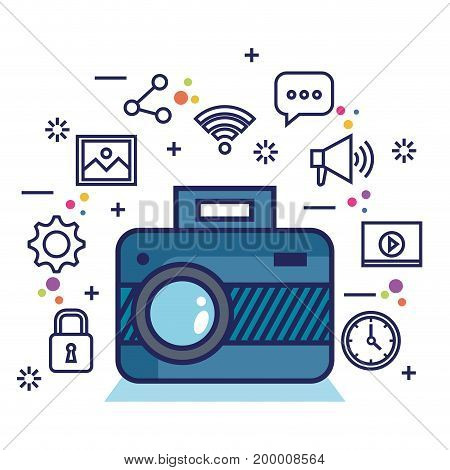 photo camera network multimedia web app icons vector illustration