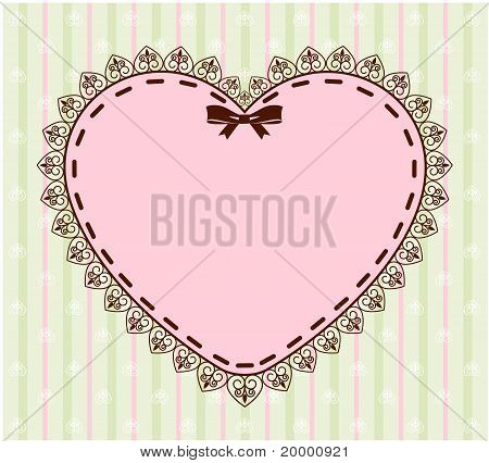 A beautiful background with lace and heart and a place for text