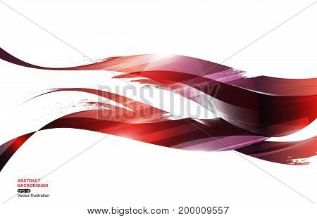 Red Blue Ink Stripe Wave Abstract Background, concept fire, vector illustration