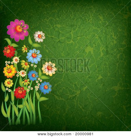 Abstract Floral Illustration On Grunge Background