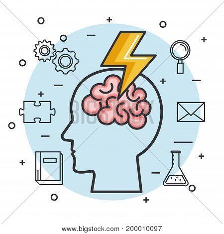 silhouette head brain brainstorm idea knowledge vector illustration