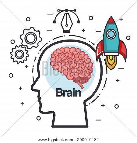 silhouette head brain rocket think idea power vector illustration