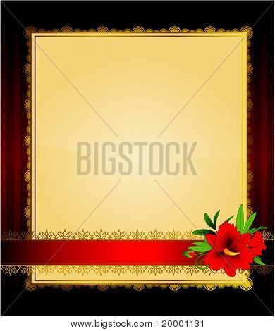 Red flowers on the background of a decorative frame for text
