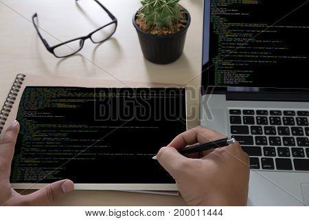 Developer Team Working Laptop Computer Mobile Application Softwareand Web Design Online Technology C