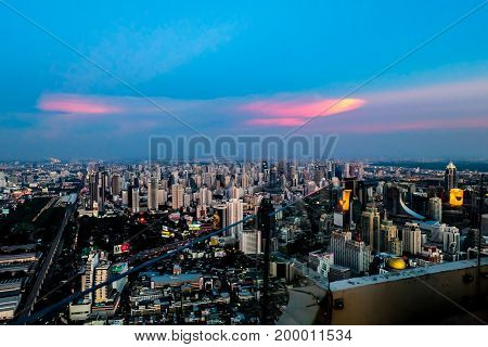 sunset megapolis Beautiful cityscape with top view on skyscrapers. Bangkok Thailand
