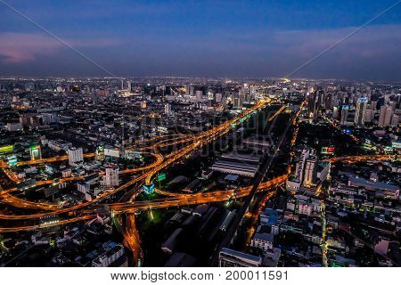 Panorama sunset cityscape with expressway in Bangkok Thailand