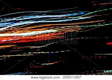 bokeh tangle Abstract light line colour night background