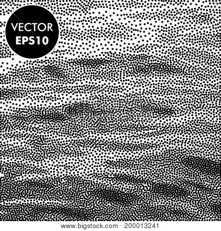Vector Sea Background. Dotted Waves. Abstract Engraving Illustration. Black and White Dots