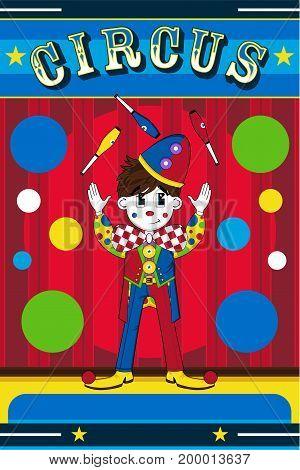 Cute Cartoon Circus Clown Juggling Vector Illustration
