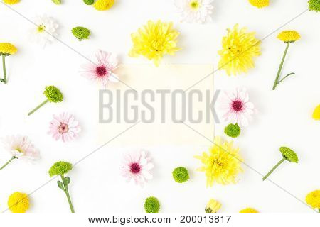 Frame of different chrysanthemums on a white background. Flat lay top view