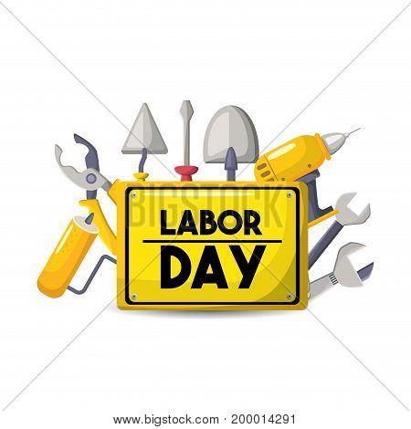 labor day national celebration symbol vector illustration