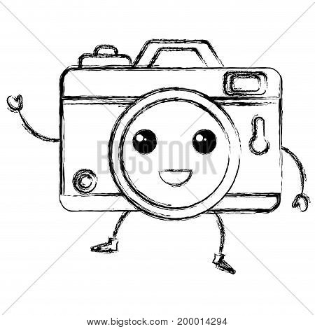 photographic camera kawaii character vector illustration design