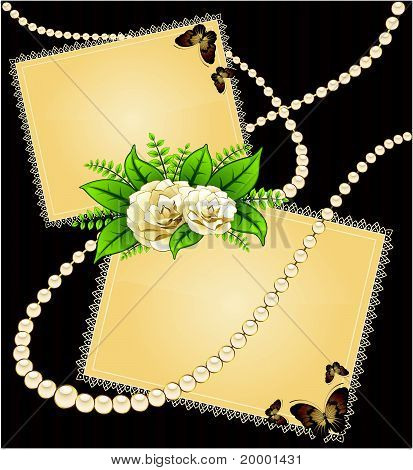 Roses with lace ornaments on background