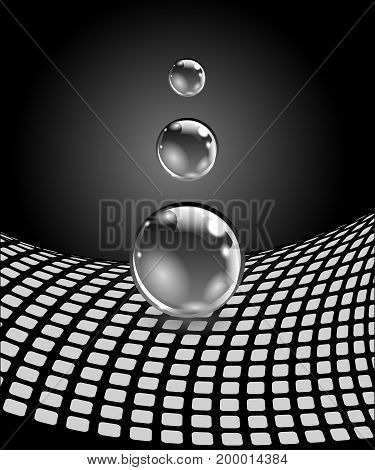 Abstract spheres with surface. Concept business design. Vector illustration