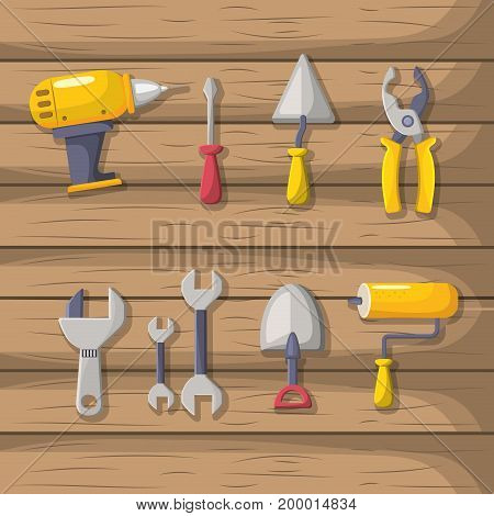 set labor tools to professional employers vector illustration