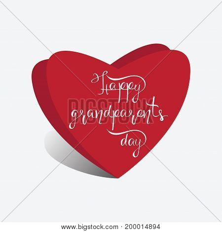 Hearts and the inscription Happy Grandparents day. Hand drawn lettering for family holiday. Modern brush calligraphy.