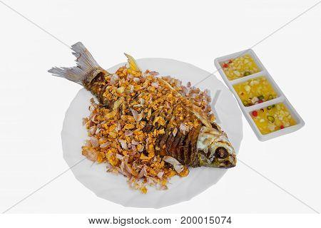 Crisp Fried Fish Isolated on White Background