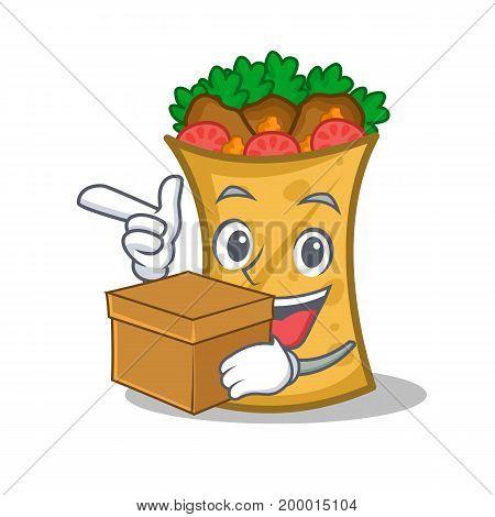 kebab wrap character cartoon with box vector illustration
