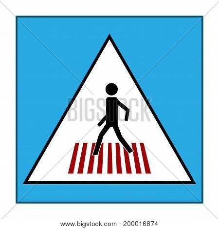 Crosswalk black sign in blue rectangle. Icon a pedestrian place for child near school. Symbol safety traffic human on road. Label for banner about crossing way. Design element. Vector illustration