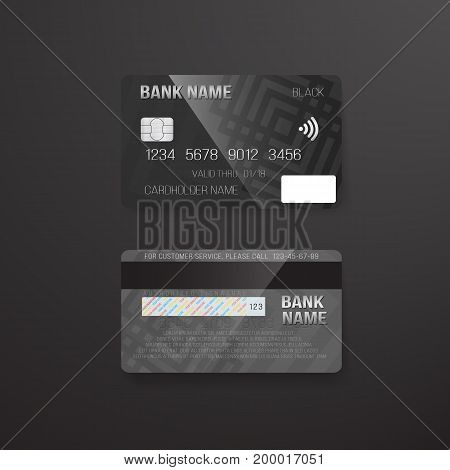 Illustration of Photorealistic Vector Credit Card on Dark Background