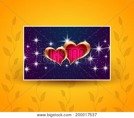 Beautiful greeting banner with hearts. Vector illustration.