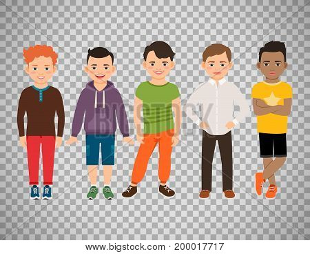 Cute little boys characters isolated on transparent background. Guys lads vector illustration