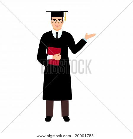 University male student graduate with glasses isolated on white background. Male character with square academic cap and diploma in hands. Vector illustration