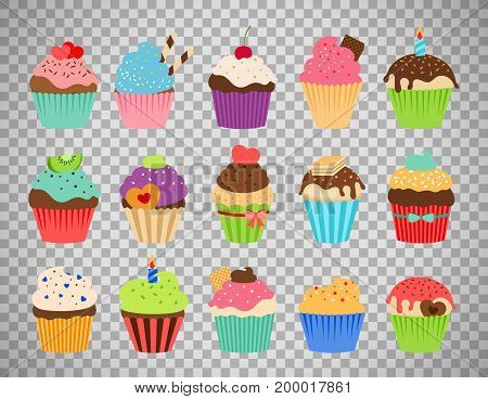 Cupcakes flat icons. Delicious birthday cupcake and wedding muffin vector collection isolated on transparent background