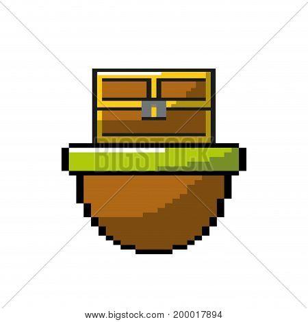 video game treasure chest in the digital platform vector illustration